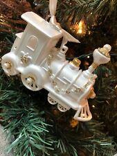 """New Kurt Adler White & Gold Pearl 5"""" Designer Train Christmas Ornament!"""