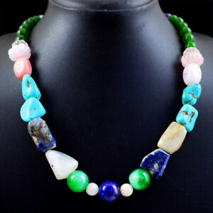 Mix Gemstone 430.00 Cts Natural Untreated Beads Single Strand Necklace NK 68E101