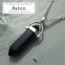 Silver Plated Blue Goldstone Point Pendant & Chain Wicca Reiki Chakra LOVE VIBES
