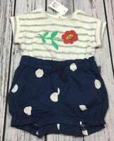 Baby Gap Girls 0-3 Month Shorts Romper. Flower & Polka Dot 1-Piece Outfit. Nwt