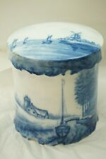 ANTIQUE ROSENTHAL PORCELAIN DELFT FLOW BLUE TOBACCO JAR WITH LID ST CLOUD 1800s
