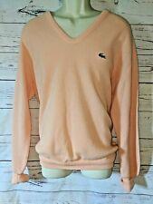 Vtg Authentic Men's IZOD Lacoste Pull Over V Neck Sweater Peach Long Sleeves