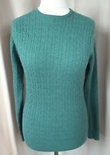 Woolovers Merino/Cashmere Green Aran Cable Knit Jumper - S UK10-12