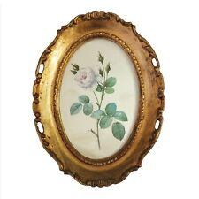 Vintage Gilded Gold Wooden Framed Silk Oval Print, Rose Floral Flowers Art Italy
