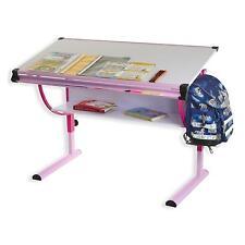 Bureau enfant écolier hauteur réglable table à dessin inclinable tablette rose