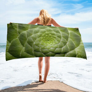 Succulent Plant Themed Beach Towel Green Plant Lover Gift Idea