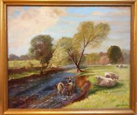 Flyfishing on the Wenning. Oil by listed Yorkshire artist Gordon Clifford Barlow
