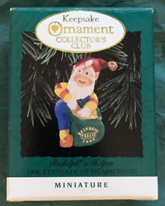 """Keepsake Ornament Collector's Club 1996 Rudolph's Helper 2"""" New in Box! Applause"""