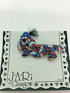 J.A.Ri of Glasgow Dog with Hat Brooch Made From Polymer Clay