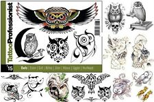 """PRO OWLS FLASH BOOK 15 Tattoo Arties Supply 68-Pages """"Owls"""" Design"""