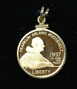 1997 FDR Proof $5 Gold Commemorative Coin, 14 kt. Bezel