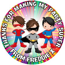 SUPERHERO BOYS , 24 PERSONALISED GLOSS, BIRTHDAY PARTY, SWEET CONE STICKERS