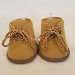 Build a Bear Workshop BABW Shoes Work Hiking Boots Tan Lace Up