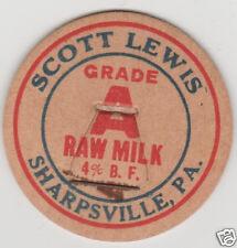 MILK BOTTLE CAP. SCOTT LEWIS. SHARPSVILLE, PA. DAIRY