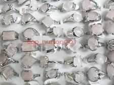 Job Lot 10pcs Nature Pink Stone Silver P women's Charm Ring Free Ship