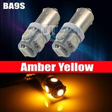 10X Amber Yellow BA9S 5 SMD LED Interior Map Side Door Light Bulbs