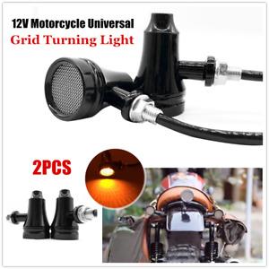 12V LED Motorcycle Highlight Bike Horn Shaped Grid Turning Lamp Fog Spotlight