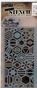 Tim Holtz Stencil - Patchwork Hex Layering stencil -- NEW