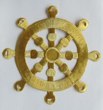 """#2332XL 7 3/4"""" Marine,Nautical Gold Wheel Embroidery Applique Patch"""