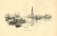 Fishing Boats, River Scene, The Silent Highway, Vintage, 1889 Antique Print.