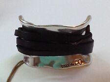 "NWT Uno de 50 Silvertone/Brown Leather Bracelet 7"" ""Ibiza"" $185"