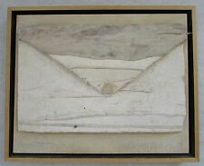 "Carol Anthony Paper Pulp ""Envelope Unopened"" Encaustic on Canvas 2004"