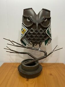 Custom Hand Crafted Owl Sculpture. BuiltFromJunk