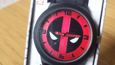 Spiderman Deadpool Marvel Comics Red Black Face Analog Watch Collectible Tin