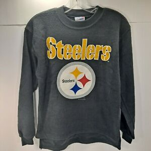 Vintage Pittsburgh Steelers NFL Black Sweatshirt 1996 Size Youth L Chalk Line