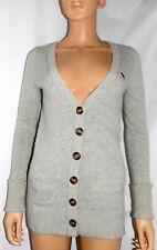 ABERCROMBIE & FITCH Women's V-Neck Sweater/Cardigan, Light Gray, w/ embroid.Logo