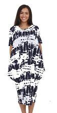 Womens Cap Sleeve Long Hanky Hem Flared Ladies Swing Dress Top Plus Size8-26 Navy 3xl