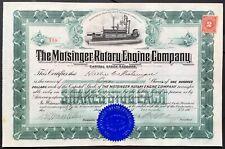MOTSINGER ROTARY ENGINE CO Stock 1915. CT. Internal Combustion Invention VIG VF+