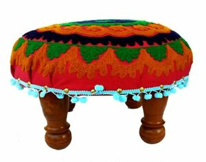 Living Room Furniture/Stool Cloth Embroidery Upholstered Wooden Stool - Assembly