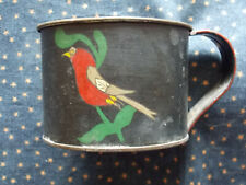 Tole painted tin cup. Bird and flower design.