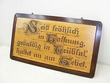 ancien plaque PLANCHE Bénédiction de maison TABLEAU BOIS ART - Prière - avec