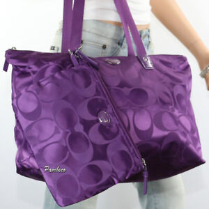 NWT Coach Signature Nylon Packable Weekender Tote Bag F77321 Amethyst Purple New