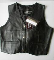 NWT UNIK Women's Black Leather Motorcycle Biker 3 Snap Vest Style 650 SZ L