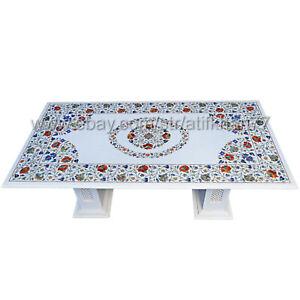 Marble Inlay Dining Table Taj Mahal Art Pietra Dura Patio Table Top