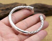925 St925 sterling silver smooth snake serpent simple ladies open bracelet