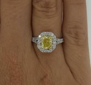 1.5 Ct Fancy Yellow Split Shank Pave Cushion Cut Diamond Engagement Ring SI2