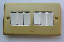 legrand Synergy 7334 06 10AX Switch 6x2way in Traditional Satin Brass Gold