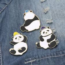 Collar Pin Corsage Brooch Jewelry 3Pcs/Set Enamel Cartoon Panda Animal Lapel