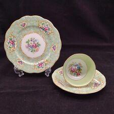 More details for queen anne gainsborough tea trio tea cup saucer side plate pattern 4762 c1950s