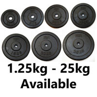 "FXR SPORTS CAST IRON 1"" WEIGHT PLATES HOLE DISC DUMBBELL BARBELL WEIGHT FITNESS"