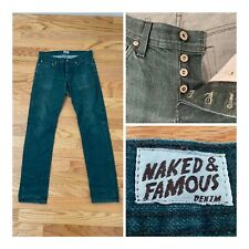 Naked and Famous Weird Guy Green Button Fly Slim Straight Jeans Men Size 32 x32