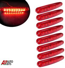 Eight Red Super Bright 9 Diodes Slim Line Tail Marker Lamps Car Van Boat 100mm