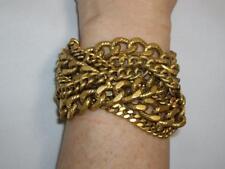 SUPER RARE Couture Runway ELIZABETH COLE 24K GP Braided Chain Wide Bracelet
