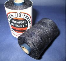 Waxed Linen thread  18 / 4 .      100 metre spool navy blue