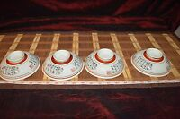 """4 Asian Porcelain Decorative Writing Design Shallow Footed Bowls 5 3/8""""x1 3/4"""""""