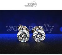 925 Sterling Silver4mm-8mm Cut Round Cubic Zirconia Clear CZ Stud Earrings